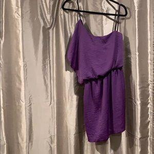 Royal purple one shoulder dress